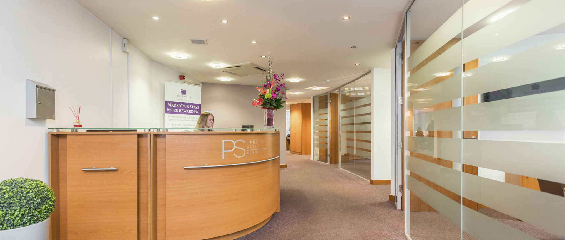 The reception area of PREMIER SUITES Liverpool