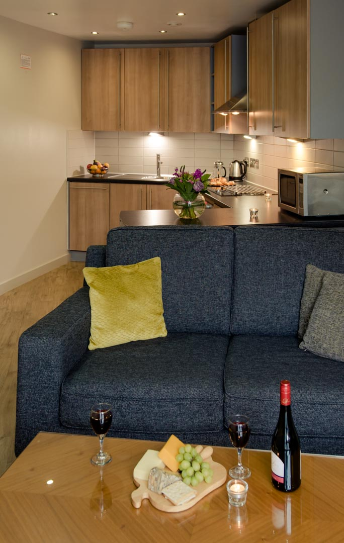PREMIER SUITES Liverpool kitchen and living area